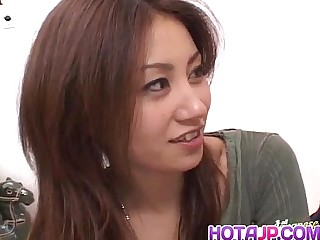 Nana Nanami gets cocks in mouth and muted cunt and cum after