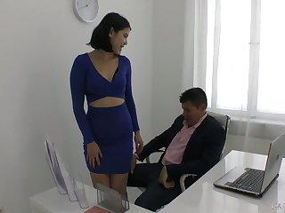 Yummy young secretary Lady Dee plays with steadfast dick of her horny big wheel