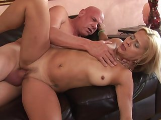 Thick grandpa cock fucks her pock-marked milf pussy