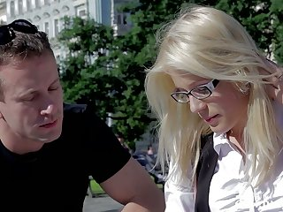 Nerdy blonde nearby reference to glasses Dear Cat gets intimate nearby stranger and takes cum on her glasses