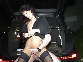 Beautiful Samy Saint enjoys missionary pose with her boyfriend by the car