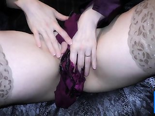 Double satin blouse together with satin panty play masturbation
