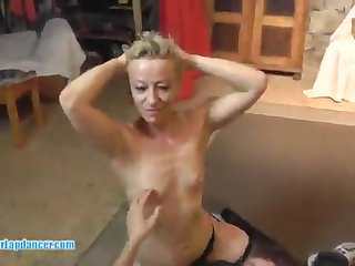 Mommy blond hair lassie at a porno audition