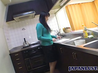 Asian housewife Sachiko Matsushita gives her dope-fiend and gets fucked hard