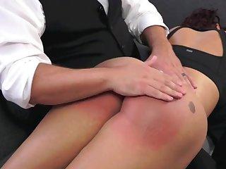 fulminate butt brunette enjoys spanking increased by punishment