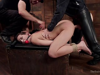 Gagged bitch fucked in stony ways and obligated to swallow
