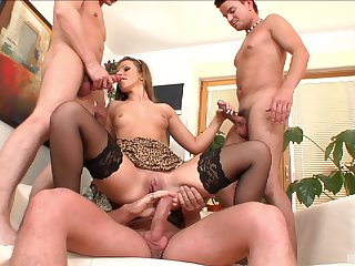 MILF ass fucked by three and jizzed in insane modes
