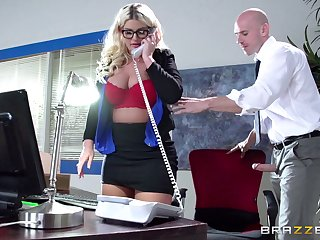 Boss lady Julie Cash fucked in the office by the brush male assistant