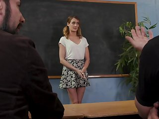 All thumbs coed Zoe Sparx gets fucked by her angry professors