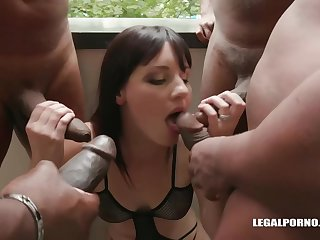 Amanda Hill is getting doublefucked from hammer away close to while sucking hammer away third Negro cock like a pro