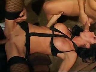 Suntanned busty bitch got both holes railed