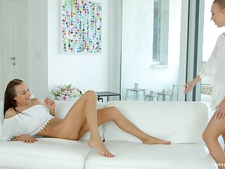 Kira Thorn walks in on her cute friend masturbating