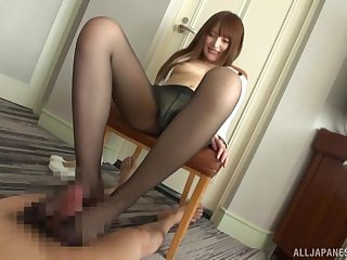 Deviant foot sex with nylon-clad Asian using a Hitachi mainly herself