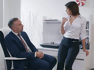 Aroused woman feels intrigued about fucking their way bigwig