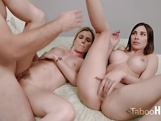 Crazy nourisher coupled forth her sluty step- daughter-in-law had a 3some forth 1 of the virgin neighbors