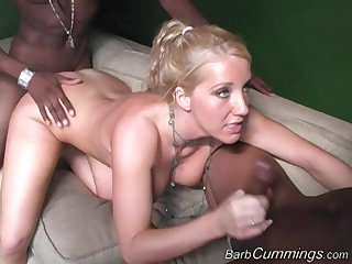 Big black detect makes slutty blonde Barb Cummings quite a distance with delight