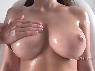 Large boobed brown-haired sweetheart Yana gets her lubed up and kneaded sexvideo