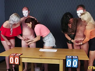 Very uncalculated guy gets his dick pleasured by four clothed sluts