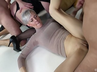 Unrestrained copulation orgy with come up to b become of cock itchy mature tyro sluts