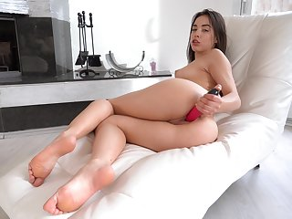 Amazing bright dark haired unspecified Anastasia Brokelyn has a pink toy be expeditious for slit