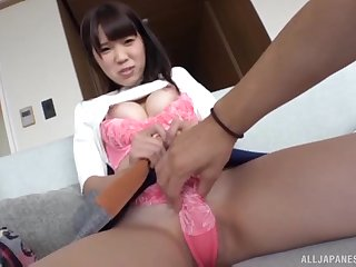 Asian babe strokes his cock and gets her pussy pleasured. HD