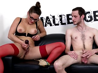 Aroused porn doll takes on amateur guy's treat dong