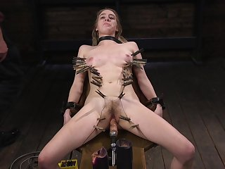 Skinny slave girl Cadence Lux moans while getting tortured
