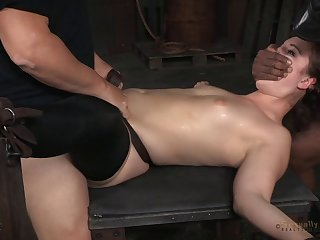 Female slave Endza Adair predestined up and spit roasted - interracial