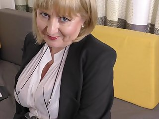 A highly glamour job interview by 57yo handsome Lorna blu