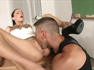 Man's hard inches suit this fine sissified teacher in proper XXX scenes