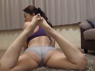 Horny mature Kuga Minami masturbates and gets pleasured in the air POV