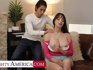 NAUGHTYAMERICA Busty brunette Lexi Luna gets her hole stretched out by son's yoga instructor friend
