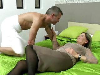 Sexy grandma suck and have a passion lucky boy