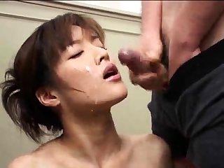 Wooden japanese bukkake facial