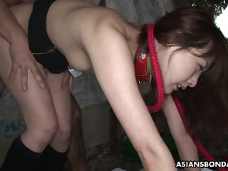 Sluttishly looking Asian chick Sayo Hayakawa is fucked by two horny guys